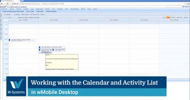 Working with the Calendar and Activity List in wMobile Desktop