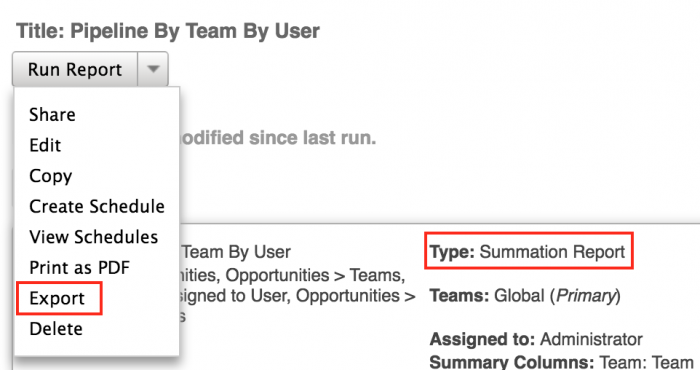 SugarCRM Export Reports in CSV format