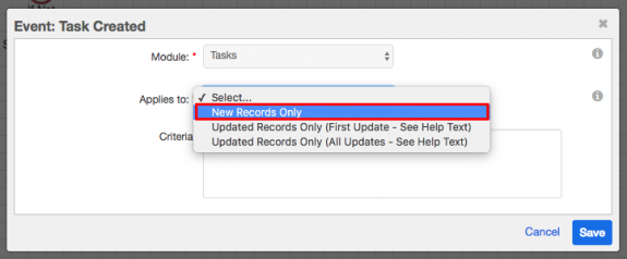New Records Only dropdown