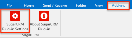 SugarCRM Plug-in settings