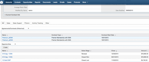 SugarCRM Accounts screenshot