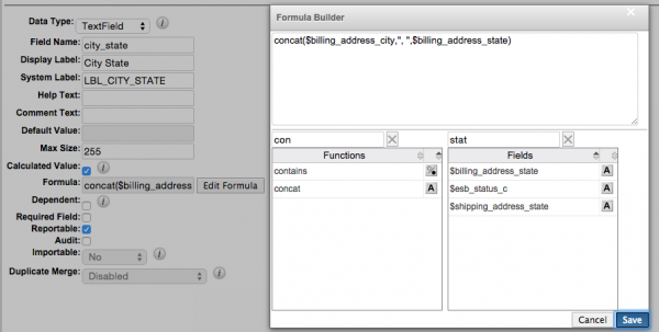 The concat function can be used to pull together two text fields and display them in the same field.