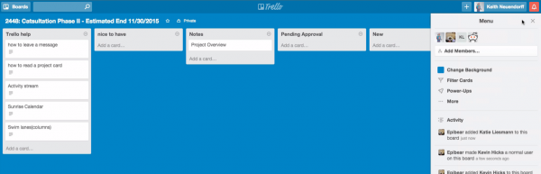 The  Trello board was automatically created using a predefined template.