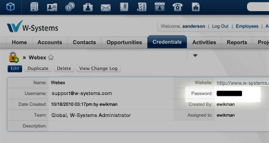 SugarCRM Credentials tab