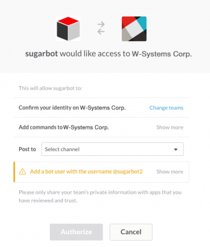 Sugarbot Access to Slack Channel