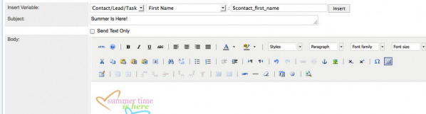 SugarCRM has the text editor tool in the Email Module so users can create HTML and Graphic emails.