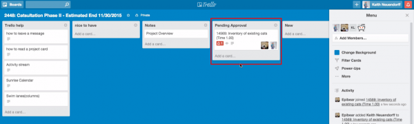 "Cases create ""cards"" in Trello and sync down the case subject, due date, assigned user, time estimate, and case description to the Trello card."