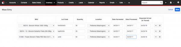 Create new Inventory Records in SugarCRM