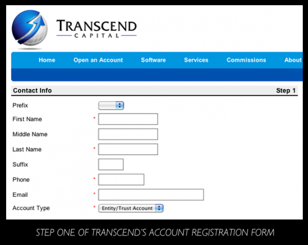 Step One of Transcend's Account Registration Form