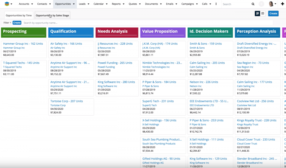 SugarCRM Tile View