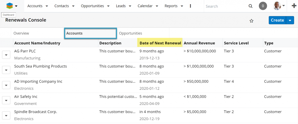 Sugar Sell's Renewals Console offers quick access to all information you need for contextual decisions.