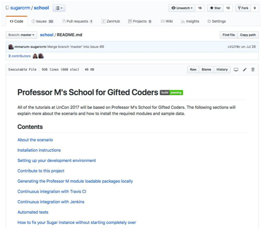 Professor M's School for Gifted Coders - Gitlab project for Sugar