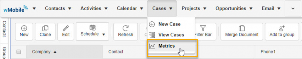 Metrics dashboard, cases tab.