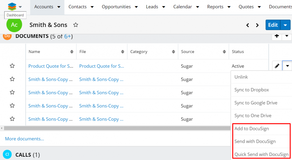 Sugar Record View Documents subpanel with the three DocuSign signature actions for files.