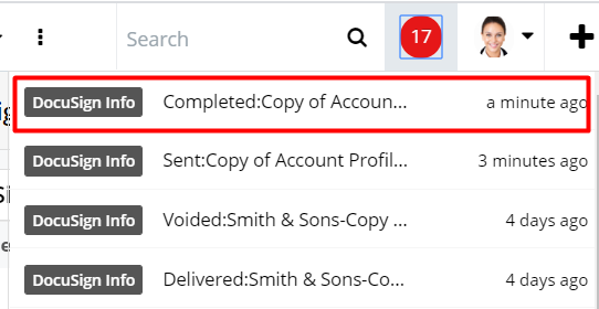 Sugar Connector to DocuSign in-Sugar notifications.