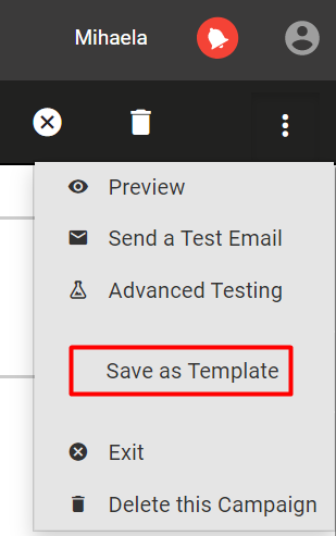 Save your email as template before sharing it with the Sales team.