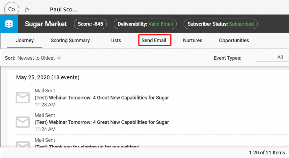 The Send Email button allows you to use the email templates created in Sugar Market.