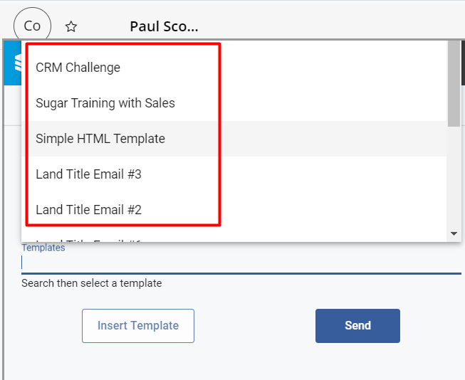 Ensure to select an email before hitting the Insert Email button.