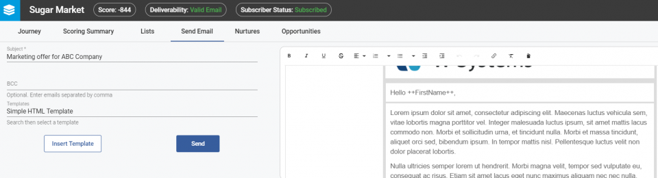 Change the email template so it fits your preferences from the right side panel.