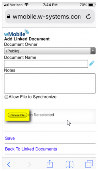 Linking Documents in wMobile for GoldMine on mobile - Browse for file