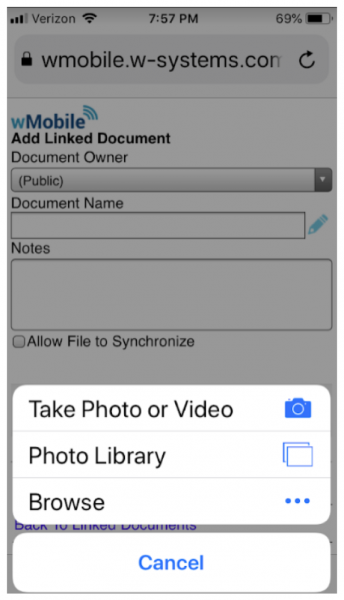 Linking Documents in wMobile for GoldMine on mobile - choose file