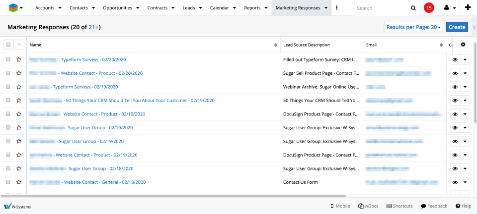 Marketing Responses screenshot in SugarCRM