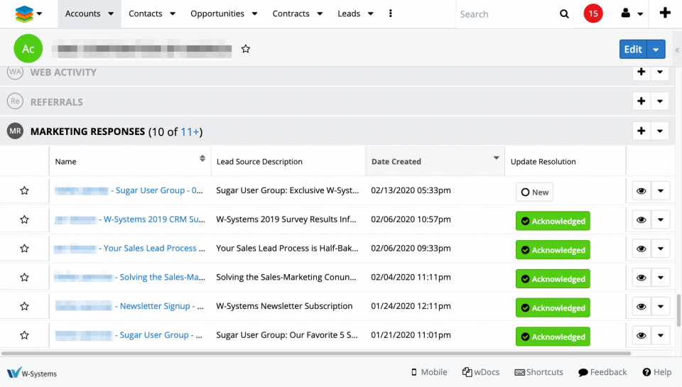 The Marketing Responses enhancement for SugarCRM includes subpanels in Leads, Contacts, Accounts and Opportunities and lists every related marketing responses records.