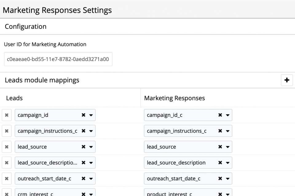 Marketing Responses for SugarCRM can be customized to map the leads and contacts fields updated by your marketing automation software.