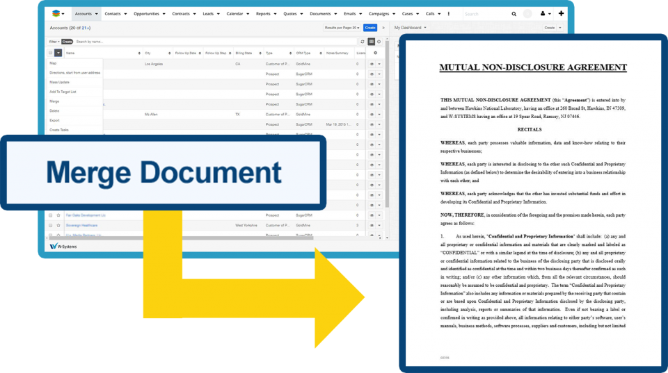 wDocs document merge.