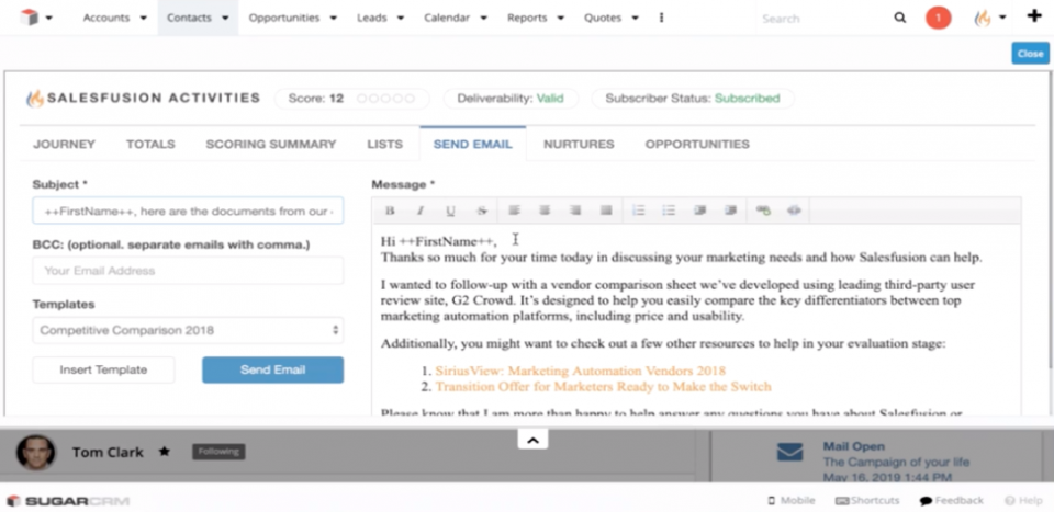 The Salesfusion Activities panel in SugarCRM enables sales users to use email templates to reach out to lead or contacts.