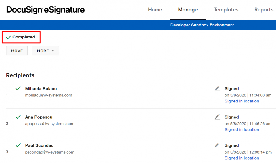 The Completed drawer in DocuSign.