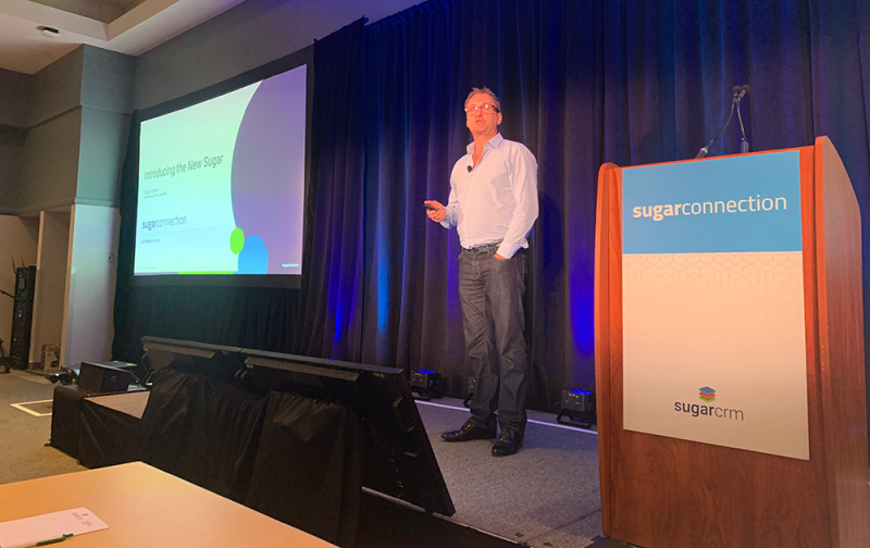 Craig Charlton speaking at the SugarCRM SugarConnection Boston 2019 conference