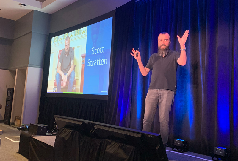 Scott Stratten speaking at the SugarCRM SugarConnection Boston 2019