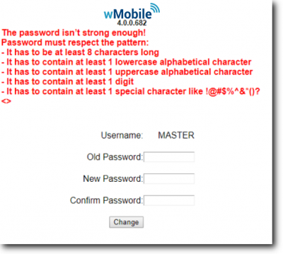 wMobile Phone login screen