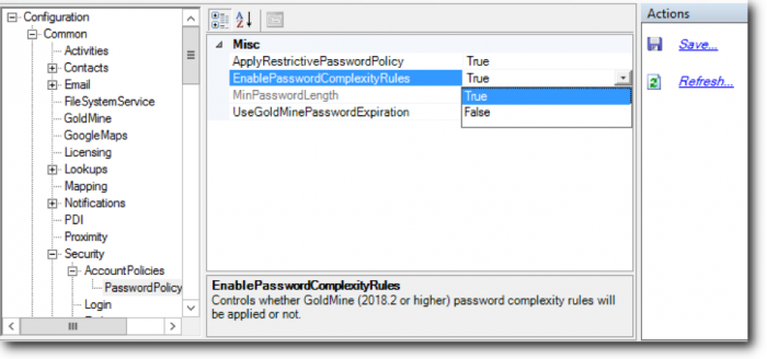 wMobile Password Policy Settings