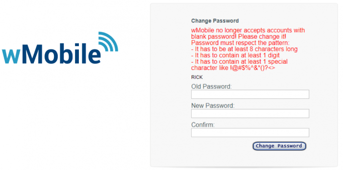 wMobile Desktop Change Password screen