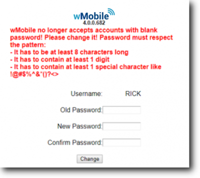 wMobile Phone Change Password Screen