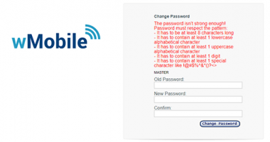wMobile Change Password Screen