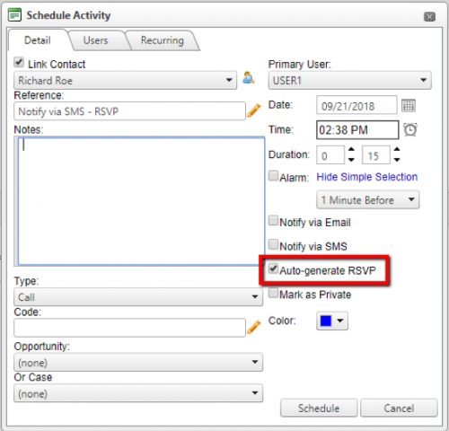 Setting up an RSVP notification in wMobile when completing an activity