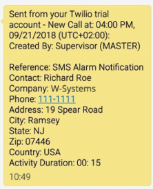 SMS alarm notification sample from wMobile