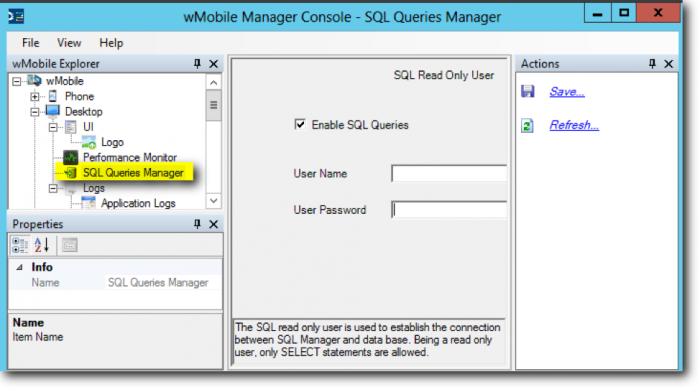wMobile Desktop - SQL Queries Manager