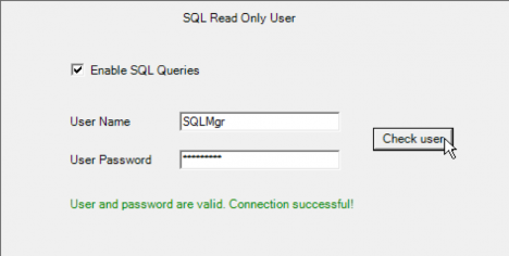 wMobile Desktop - Test SQL Read Only User Credentials