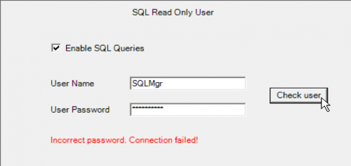 wMobile SQL Manager - Read Only User Credentials failure