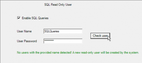 wMobile SQL Manager - create new SQL read-only user