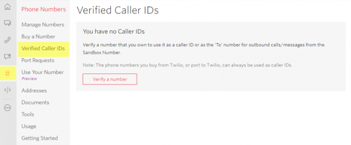Twilio verified caller IDs