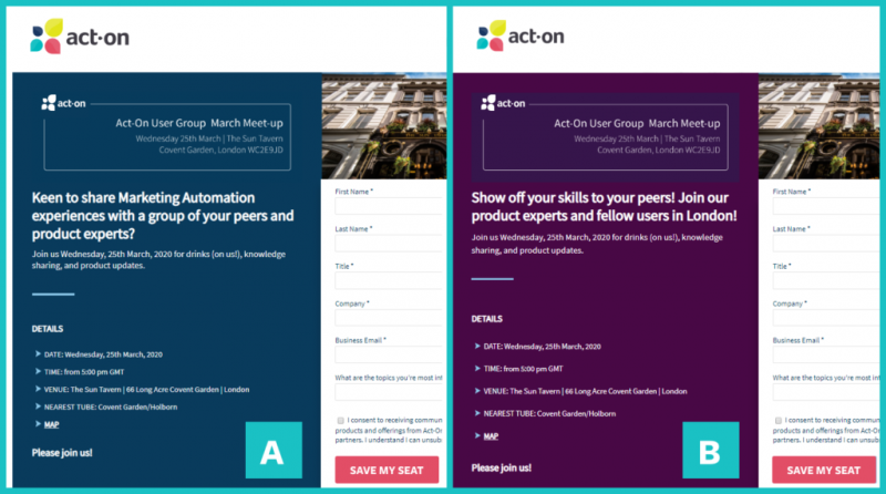 Act-On Landing Page A/B Testing screenshot