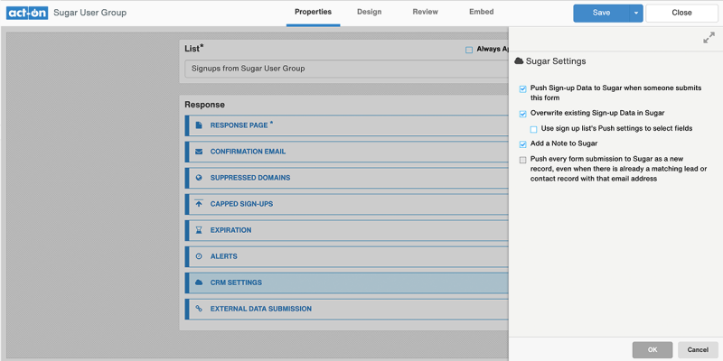 Act-On CRM Integration Screenshot