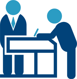 Men at desk icon