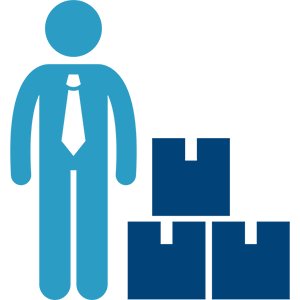 Man with pile of boxes icon