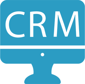 CRM written on pc monitor icon